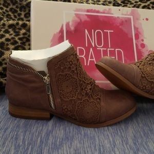 Taupe lace and faux leather zip booties